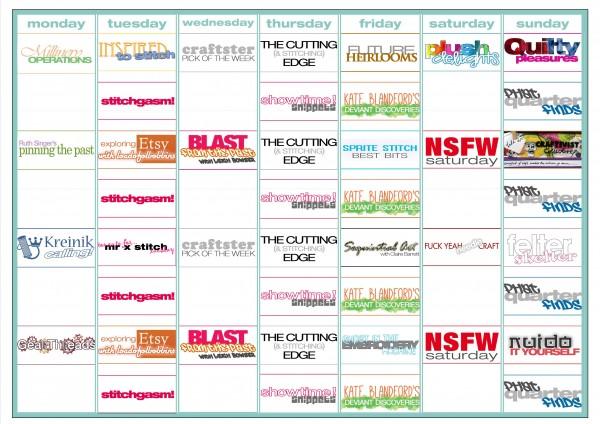 Mr X Stitch Schedule 2014