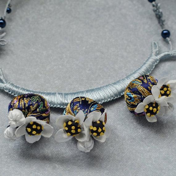 ZoraHolly - Brocade Satin Flower Necklace