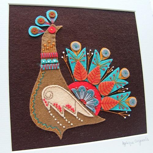 Applique Originals - Peacock Felt Picture