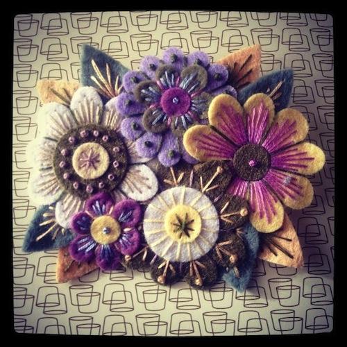 Vintage Bouquet Brooch by Applique Originals (Hand Embroidery)