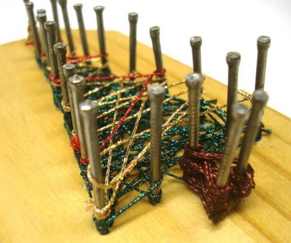 Christmas Tree string art created with Kreinik metallic threads (specifically, Medium #16 Braid).