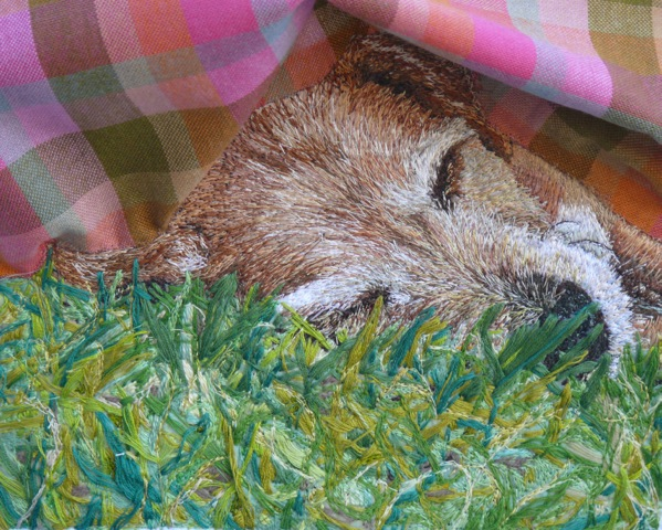 Stacey Chapman - Sleeping Puppy - Machine Embroidery