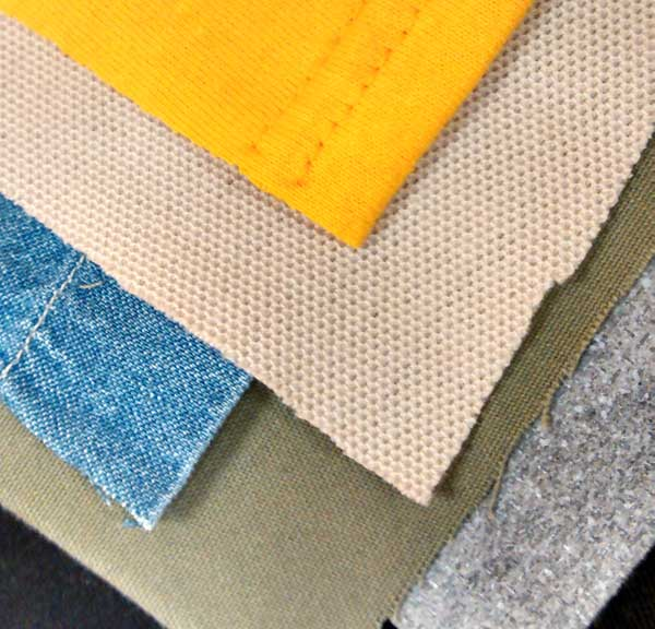 Swatches of very different materials for embroidery sampling - Distortion in Digitizing