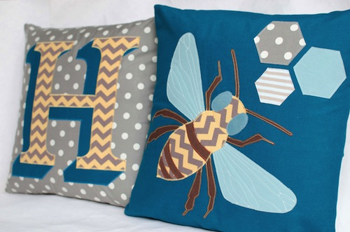 Typography and Honey Bee Cushions by Minimanna (Machine Embroidery)