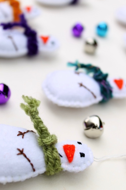Snowmen Tree Decorations by The Ladybird Tree (Hand Embroidery)
