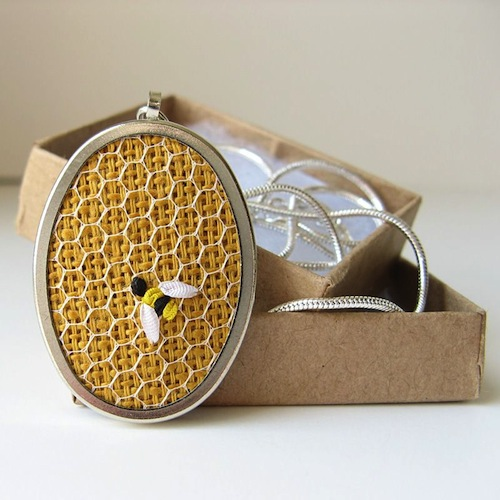 Bee Necklace by bstudio (Silk Ribbon Embroidery)
