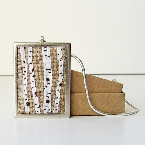 Birch Trees Necklace by bstudio (Silk Ribbon Embroidery)