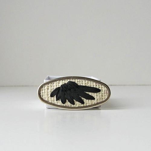 Black Wing Brooch by bstudio (Silk Ribbon Embroidery)