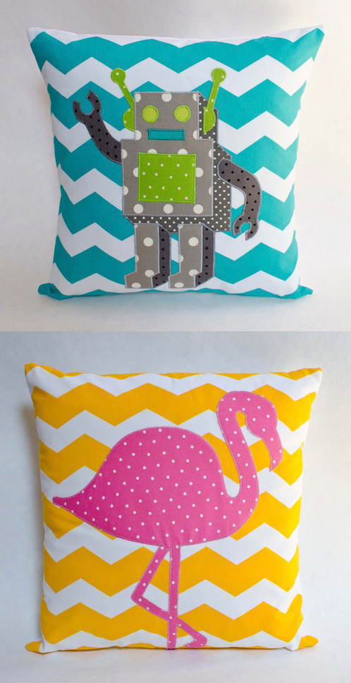 Robot and Flamingo Cushions by Minimanna (Machine Embroidery)