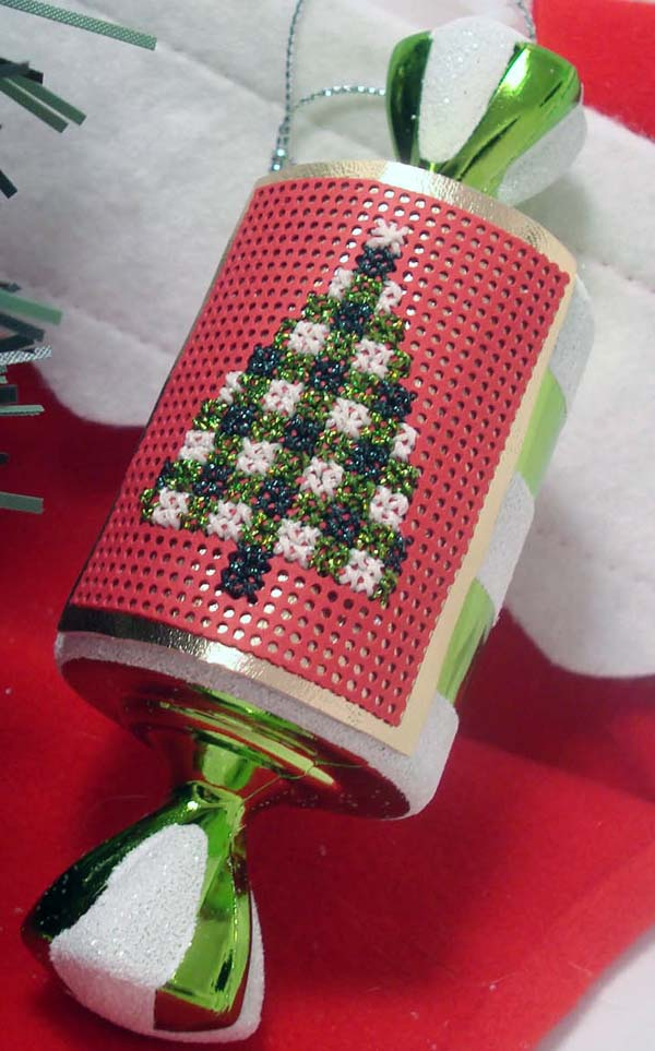 Transform a plain dollar-store ornament with a stitched square