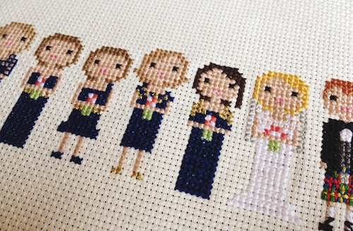 Extra Large Wedding Pixel Portrait (Detail) by Scarlet Pyjamas (Hand Embroidery)