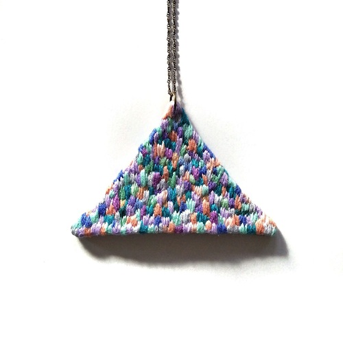 Triangle Necklace by Jujujust (Hand Embroidery)