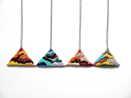 Triangle Necklaces by Jujujust (Hand Embroidery)