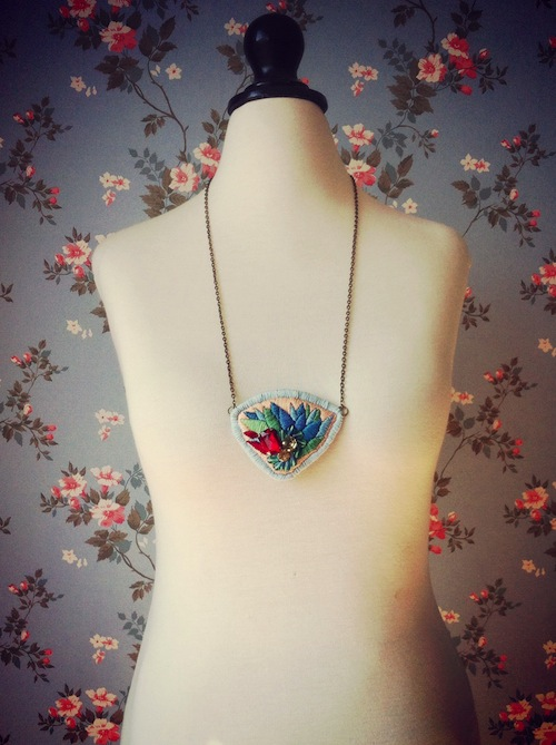 Embroidered Necklace by Casatienda de Amelia B (Hand Embroidery)