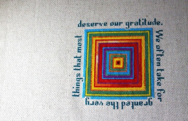 Gratitude, improvisational X stitch, 2012.