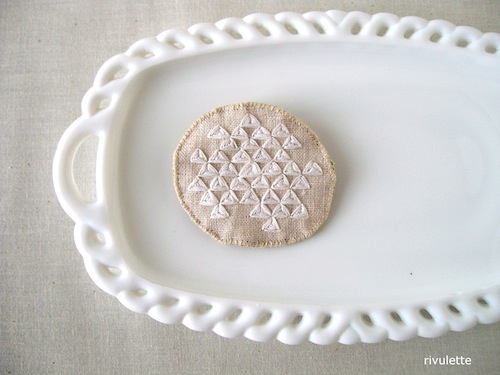 White Triangles Geometric Brooch by Rivulette (Hand Embroidery)