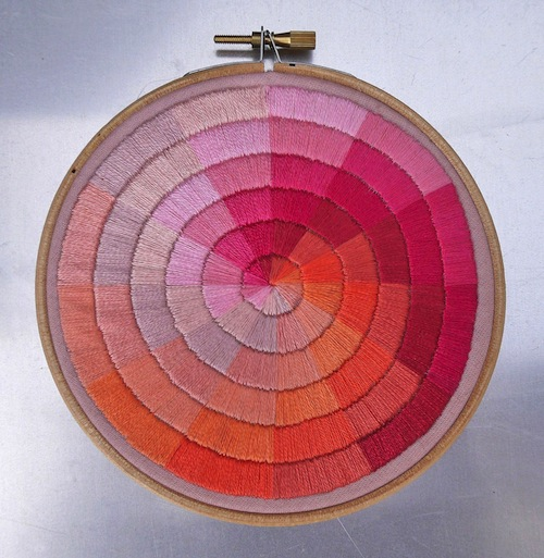 Shades of Pink and Orange Colour Wheel by The Grumpy Crafter (Hand Embroidery)
