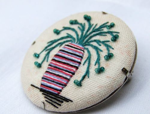 Striped Art Deco Vase and Beaded Flower Brooch by Marg Dier Embroidery (Hand Embroidery)
