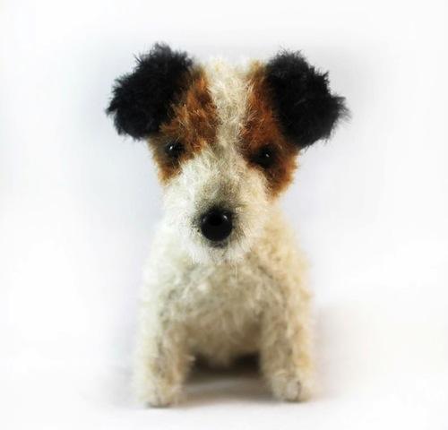 Wire Fox Terrier Puppy by Emma Hall Art (Soft Sculpture)