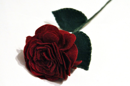 Single Red Rose by Charlotte Laurie Designs (Hand Embroidery)