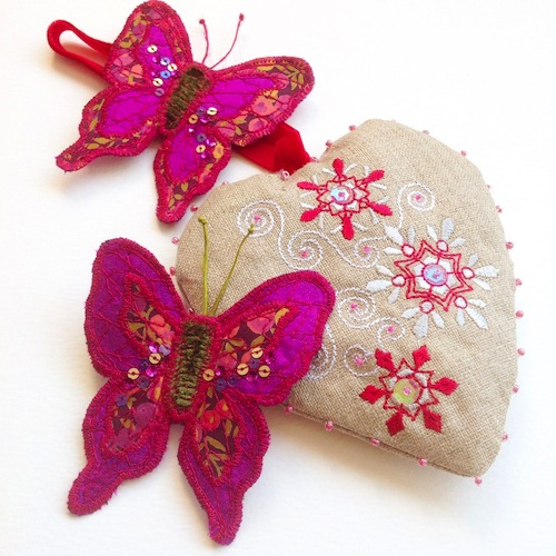 Butterfly Brooches and Heart Decorations by Heather Everitt Embroidery (Machine Embroidery)