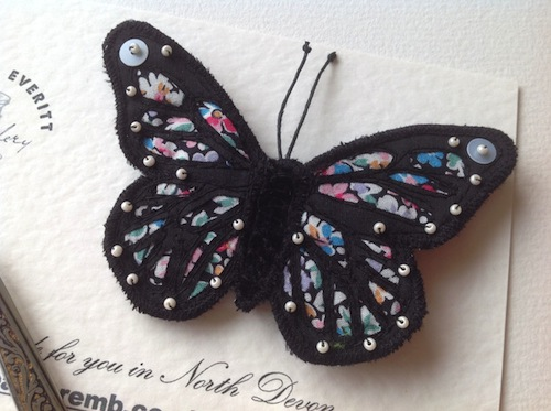 Liberty Monarch Brooch by Heather Everitt Embroidery (Machine Embroidery)
