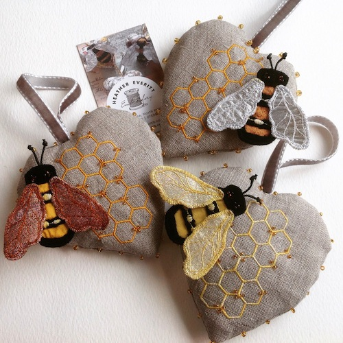 Bee Brooch and Heart Decoration by Heather Everitt Embroidery (Machine Embroidery)