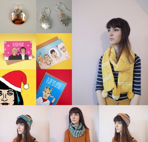 Clockwise from top left - Kim Styles Jewellery, Sprig Knitwear and The Fidorium
