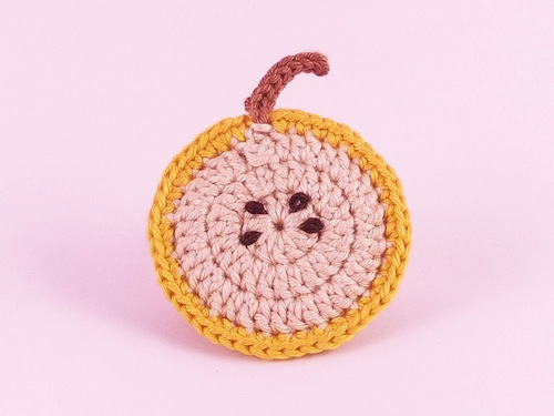 Fruit Brooch (Yellow Apple) by Teapot Magpie (Crochet)