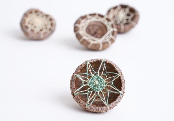 Embroidered Acorn Caps, by Hillary Waters Fayle