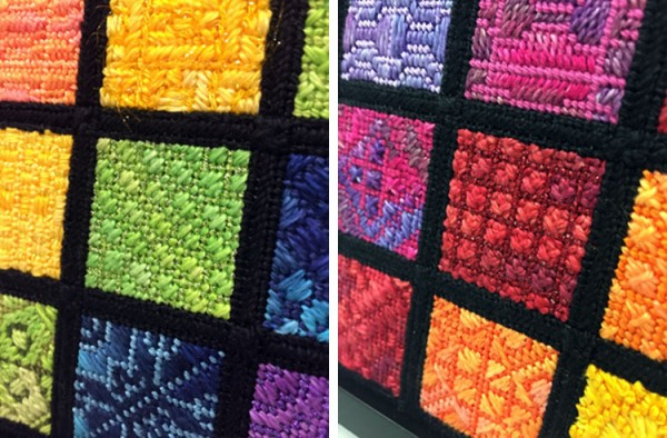 These two photos show close-ups of a few squares on the Cymatics Sampler needlepoint by Waterweave Designs. Can you spot the Kreinik #8 Braid color 015 Chartreuse green? And the Kreinik Fine #8 Braid color 003 Red?