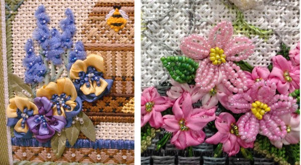 Beads are an easy way to add texture and dimension to a flower motif. The design on the left is from a needlepoint canvas by Kelly Clark Designs. The design on the left was created by Carolyn Hedge Baird in her stitch guide for a Melissa Shirley needlepoint canvas. Both are beautiful examples of ways to add beads.