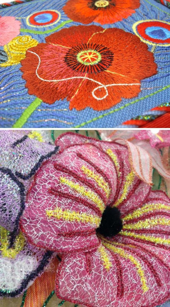 Flower centers need to be different from the petal parts...so simply add a metallic thread for texture and visual effect. Kreinik Braid is used in the design on the top (from the book Metallic Thread Embroidery by Jacqueline Friedman Kreinik). Kreinik Micro Ice Chenille (a fly fishing thread!) is used in the design on the bottom by Rita Lynne of Almost Heaven Designs.