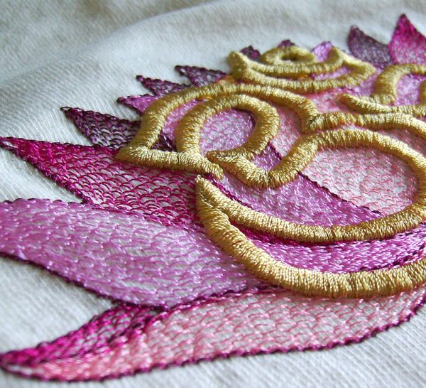 Lotus and Aum Tee Design Detail