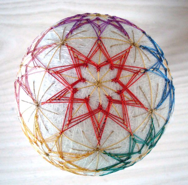 This Temari ball was created for Kreinik when we added Japan #7 thread colors. This specialty wrapped fiber has bright lustre and smooth finish. They are as elegant as they come, see http://www.kreinik.com/shops/Japan-Thread-7-5m-spools.html