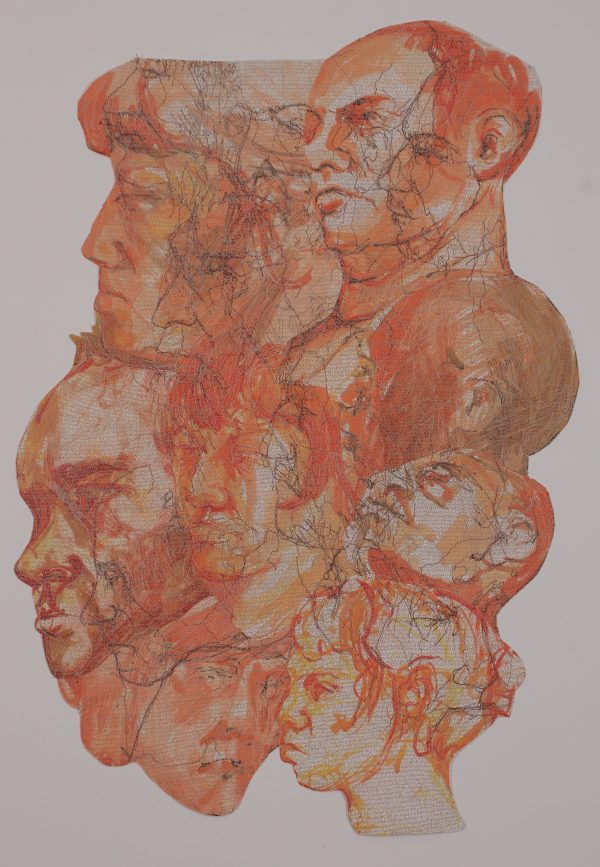 Stewart Kelly - Face to Face 4, Ink and Machine Embroidery on Paper