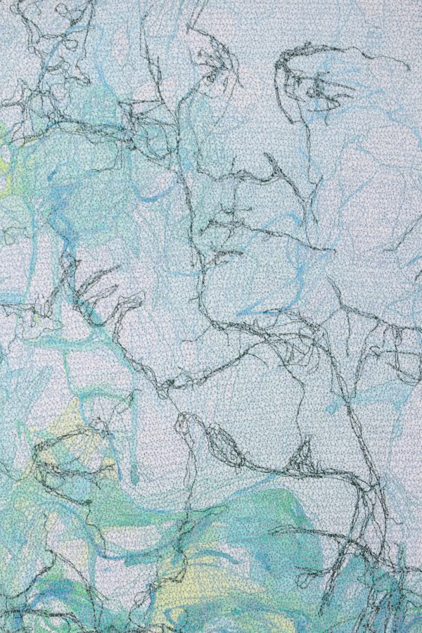 Stewart Kelly - Face to Face 1 (detail), Ink and Machine Embroidery on Paper