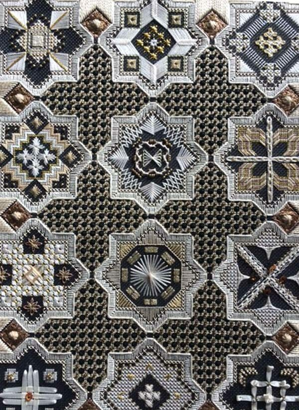 Karen Dudzinski often experiments with colorways in her design line. This black, white and gold version is simply classic and beautiful.