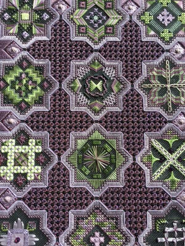 How many stitches and thread types can you spot in this gorgeous design? If it seems overwhelming, it's actually put together one stitch at a time...