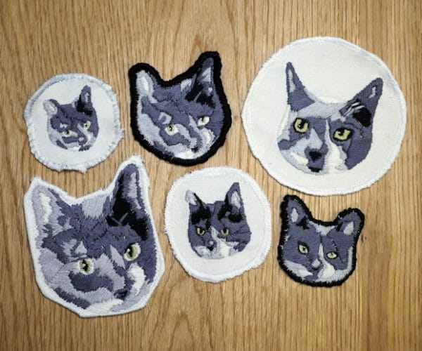 Becky Stern's embroidered cat patches