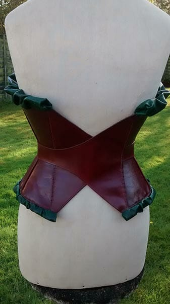 Leather corset designed and hand stitched by Suzanne Treacy, rear view - photo by Suzanne Treacy