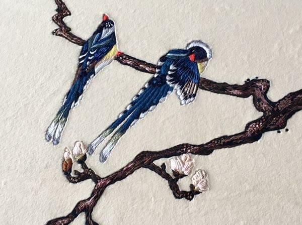 Embroidered birds, Elena Savelyeva
