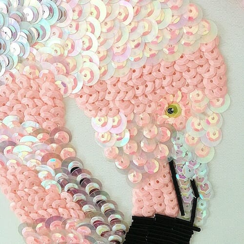 Textiles By Becca - Flamingo Embroidery Hoop (detail)