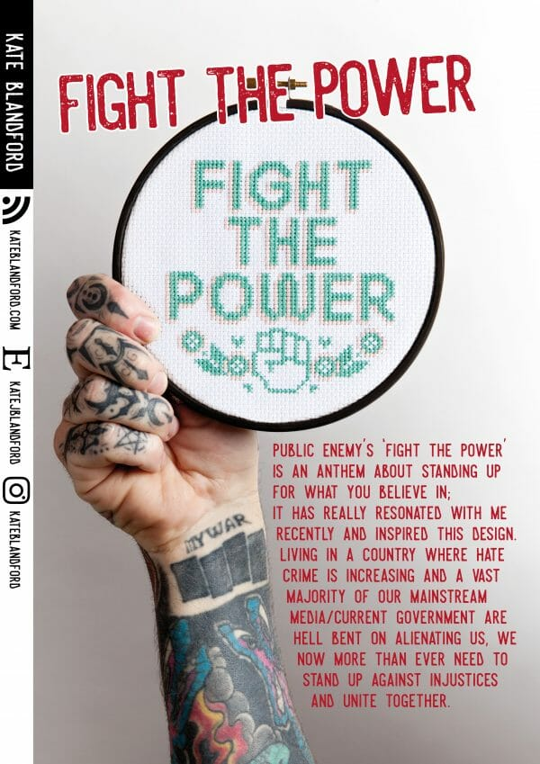 Kate Blandford's Fight The Power pattern for XStitch Issue 1