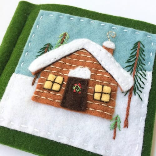 Fabric And Ink - Snowy Log Cabin Needle Book
