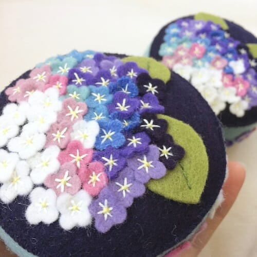 Fabric And Ink - Hydrangea Pincushion