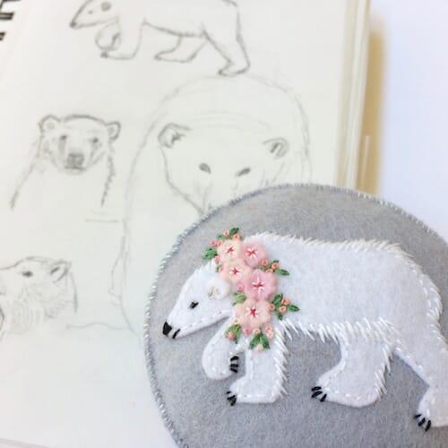 Fabric And Ink - Polar Bear Pincushion