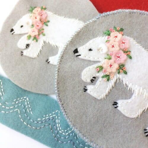 Fabric And Ink - Polar Bear Pincushion (work in progress)
