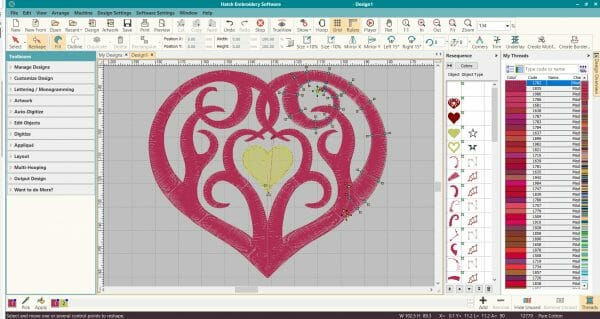 Editing a heart machine embroidery design in Wilcom Hatch Embroidery digitizing software