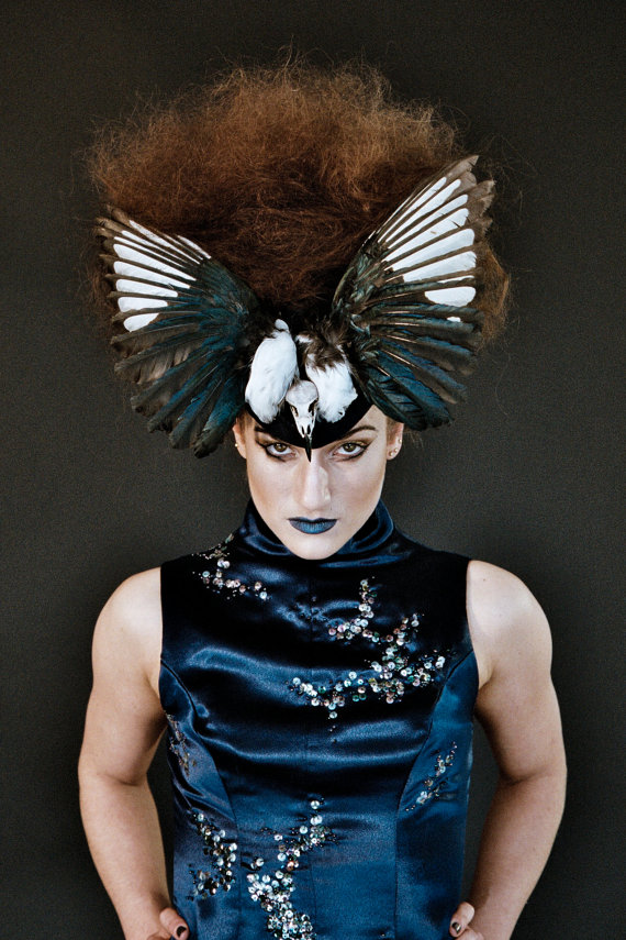 Magpie hat by UglyLovelyMillinery on Etsy